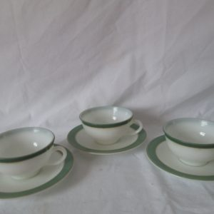 Vintage Set of 3 tea cup and saucers Pyrex USA White with green rims and gold trim coffee cups Mid century