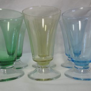 Vintage Set of 6 matching parfait cups green yellow blue glass dessert glasses
