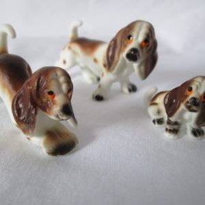 Vintage set of Springer Spaniel Dog Figurines Bone China Mid Century Japan