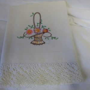 "Vintage Single Pillowcae Embroidered with elaborate crochet trim Basket with flowers pink purple brown yellow green 17.5"" x 36"""