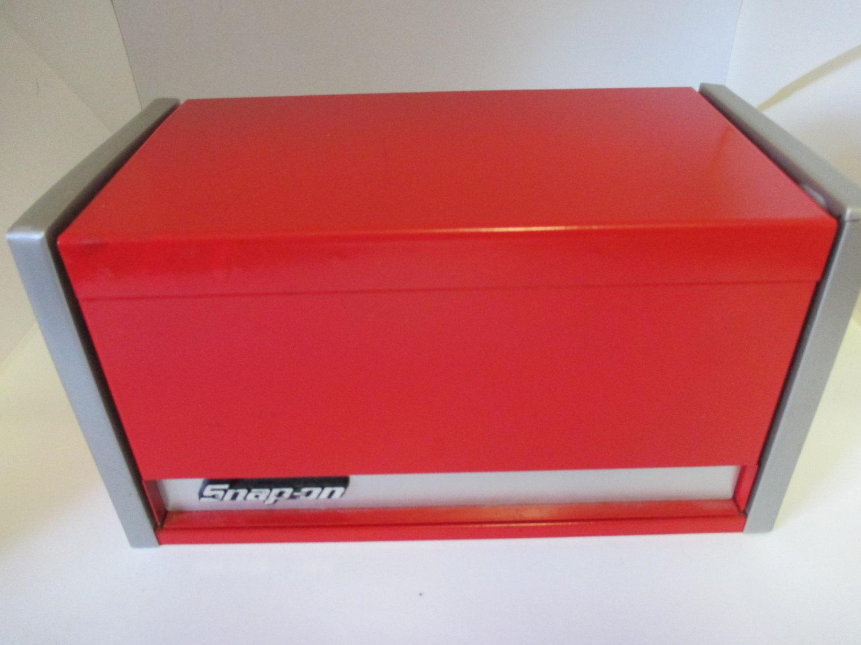 vintage snap on tool box micro mini red desktop office storage