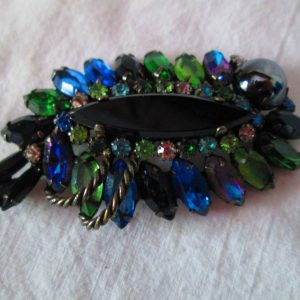 Vintage Stunning Brooch Pin Rhinestones Glass Blues Greens Purple Black Glass Stones Rhinestones Stunning