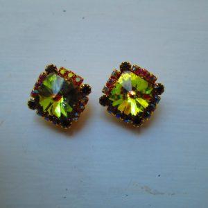 Vintage Stunning Diamond Shape Crystal and Rhinestone Earrings Gold tone backs Green Center stones Aurora Borealis around