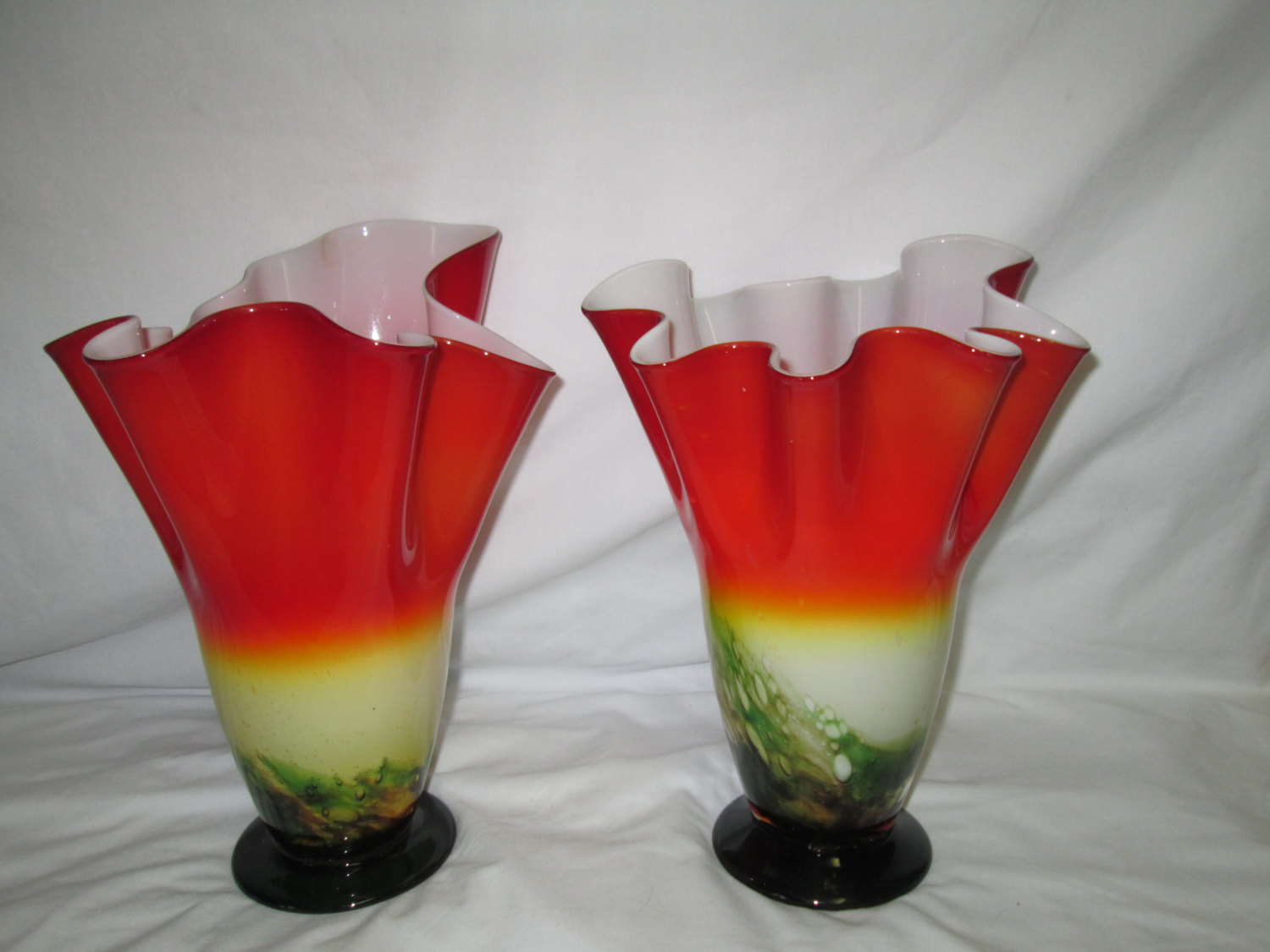 Vintage stunning pair of art glass blown glass vases green to red vintage stunning pair of art glass blown glass vases green to red encased glass white inside reviewsmspy