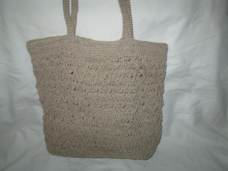 Vintage Taupe Crochet Handbag Medium Hobo Shoulder Bag Woven Knit