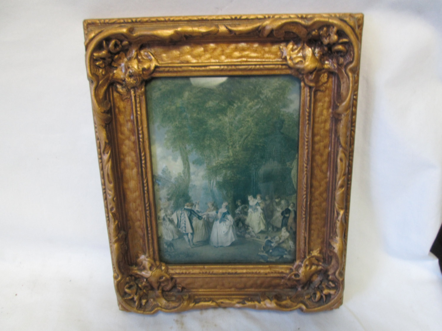 Vintage Victorian Scene Wall Art Convex Glass Ornate Gold Wooden Frame Dancing Women And Men Party Music