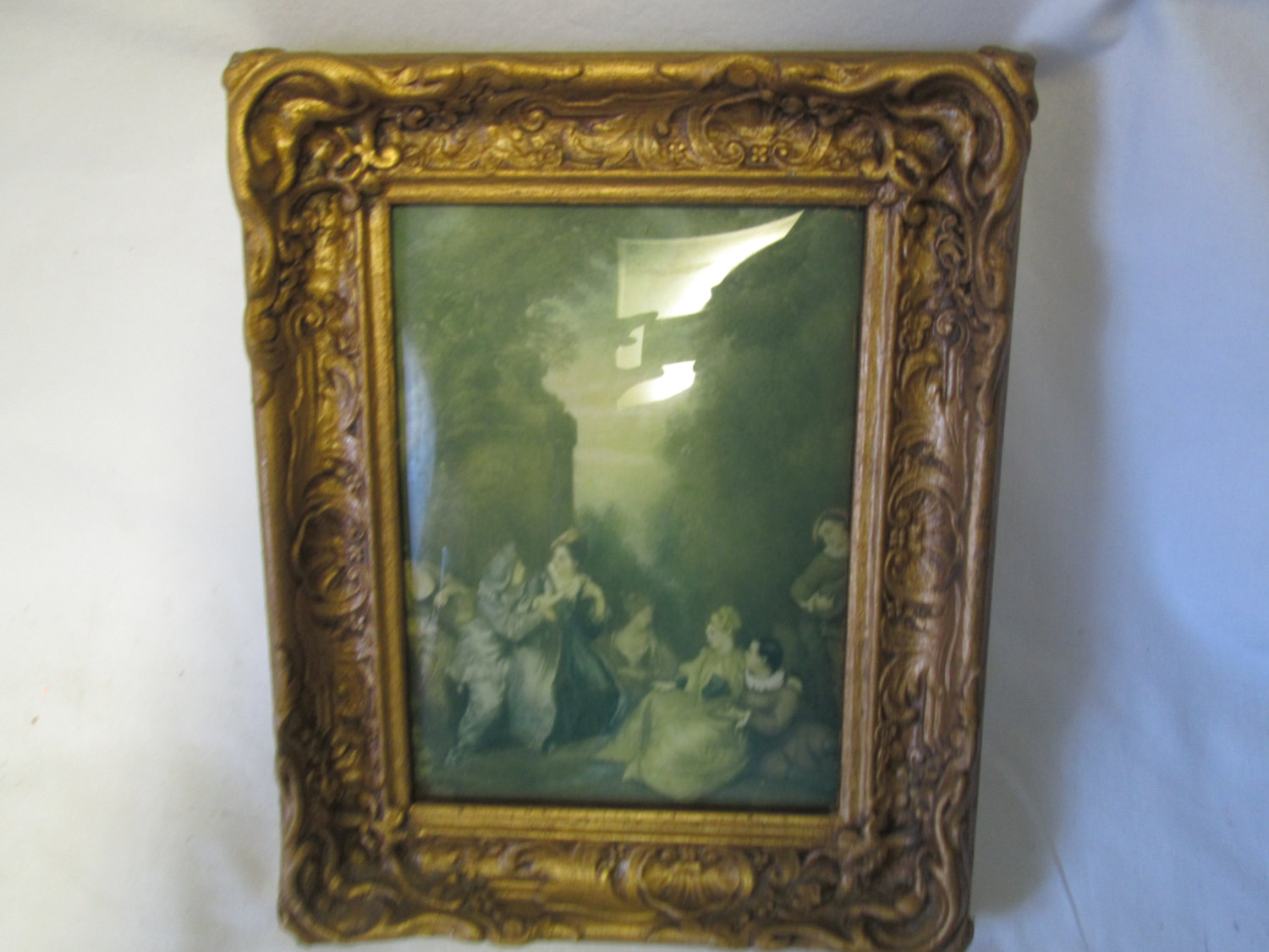 Vintage Victorian Scene Wall Art Convex Glass Ornate Gold Wooden Frame Victorian Dressed Men And Women Relaxing At Cliff