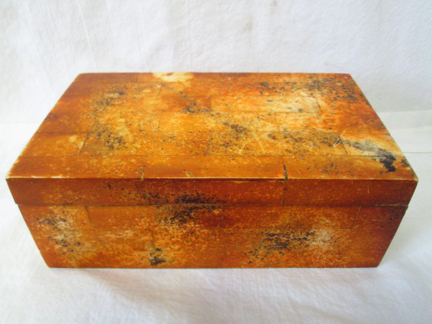 Vintage Wooden Box Brick Look exterior Wooden inside Rust Colored exterior
