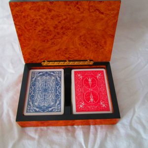Vintage wooden box playing card holder double deck