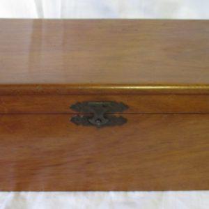 Vintage Wooden box wtih metal latch front storage display jewelry collectible hinged box