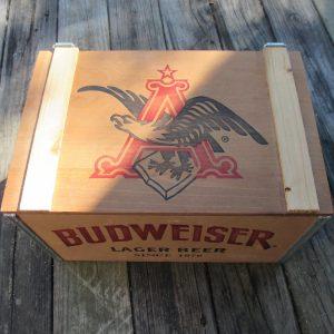 Vintage wooden Budweiser Beer crate box storage man cave collectible display bar barware tv movie prop garage shed storage Advertisement