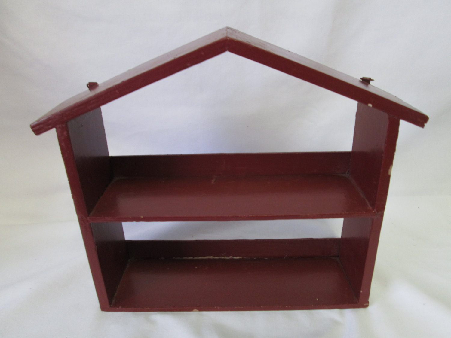 Vintage Wooden House Shape Burgundy Wooden Shelf Wall Hanging Trinket Shelf