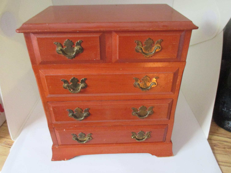 Vintage Wooden Jewelry Box Brass handles Miniature Dresser style