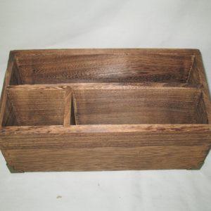 Vintage Wooden Organization Letter Desktop Storage box Mid Century Brass corners