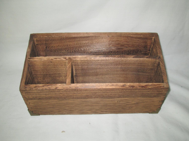 Vintage Wooden Organization Letter Desktop Storage box Mid Century Brass corners & Vintage Wooden Organization Letter Desktop Storage box Mid Century ...