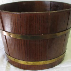 Vintage Wooden store display slatted bucket with gold tone trim barrel bucket pail display storage knitting sewing collectibles