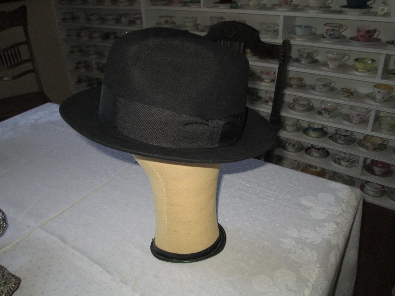 Vintage Wool Stetson Hat in original box Men s Fedora Hat USA size 7 ... 726d0cf08ff