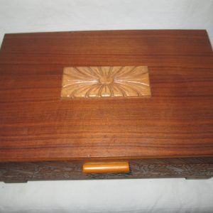 Wooden Swiss Music Box Early Mid Century with floral music box Plays The Merry Widdow Wooden Jewelry Box