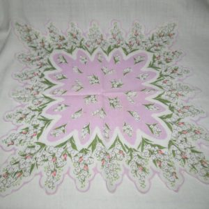 14x14 Hankie Handkerchief printed cotton Lily of the Valley Beautiful lavender pink green
