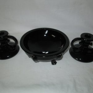 1940's Art Deco Black Amethyst Glass Footed Center bowl with Candlestick Holder pair
