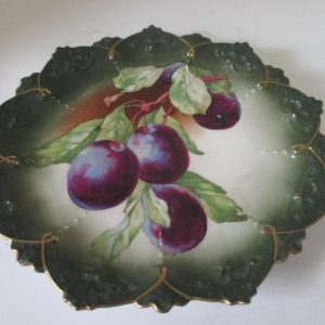 Antique Austria Serving Plate Cookie Dessert Purple Grapes Display Collectible Farmhouse Shabby chic Cottage decor Austrian 1800's