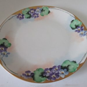 Antique Bavaria Serving Plate Cookie Dessert Purple Violas Floral Display Collectible Farmhouse Shabby chic Cottage decor Hutschenreuther