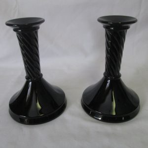 Antique Beautiful Amethyst glass Pair of Candlestick holders Appear black Art Deco early 1940's