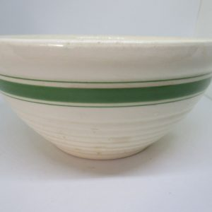 Antique Ceramic Mixing bowl Early piece with green rim cottage collectible home decor primitive display bowl