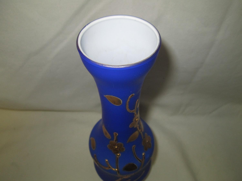 Antique Cobalt Blue Over White Glass Vase With Gold