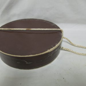 Antique Collar Box Brown Cardboard Corded top collectible display farmhouse primitive decor early 1900's collar box