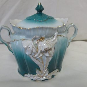 Antique Covered double handle dish Teal Color with white and gold relief flowers and leaves pattern front early 1800's