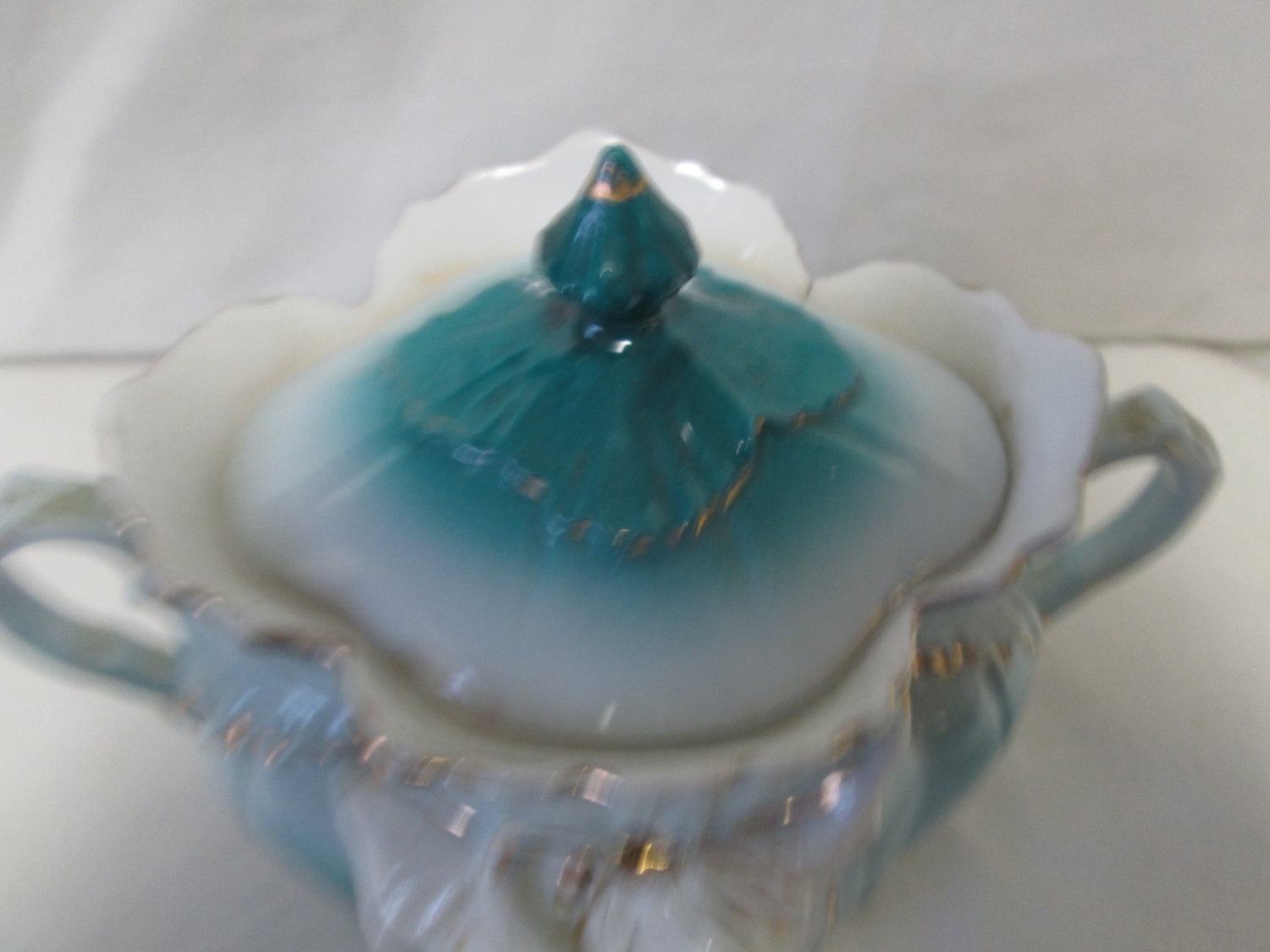 Antique Covered Double Handle Dish Teal Color With White And Gold