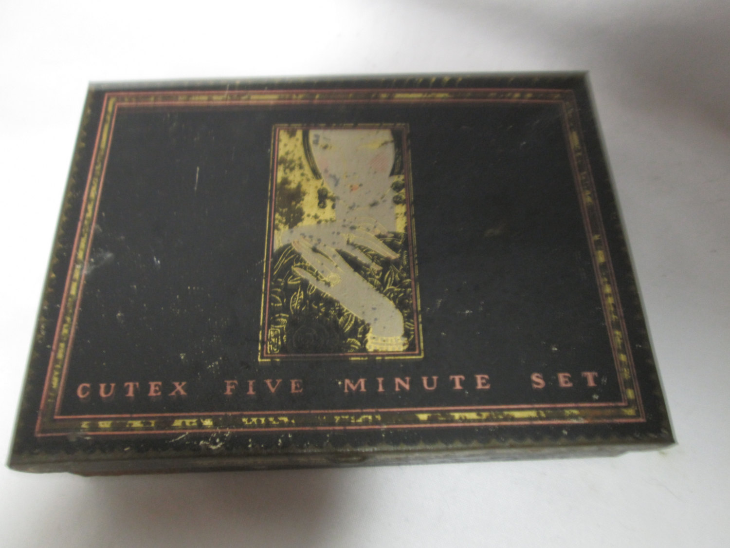 Antique Cutex Nail Five Minute Set Box Nail polish tin turn of the century metal box Art Deco Style Figurine