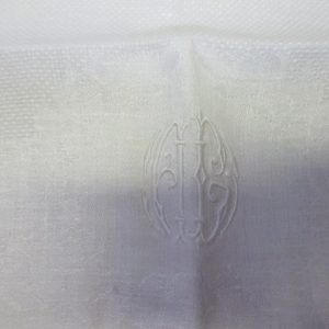 Antique Damask Bathroom 100% cotton towel monogram unknown maybe just pattern summer collectible display turn of the century 18x24 #1