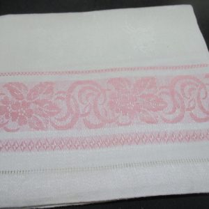 Antique Damask Bathroom cotton towel summer collectible display turn of the century 18x30 #15 farmhouse cottage shabby chic Pink scroll edge