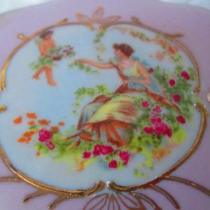 Antique Fine Porcelain Dresser Trinket Jewelry Box Victorian Scene Lefton Shabby Chic Cottage