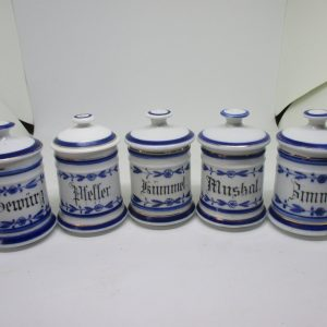 Antique Flow Blue Spice Set Near w/ lids 1880's Germany German Collectible Kitchen Decor display TV Movie prop home cottage farmhouse decor