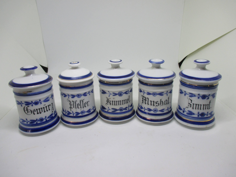 Antique Flow Blue Spice Set Near w/ lids 1880\'s Germany German ...