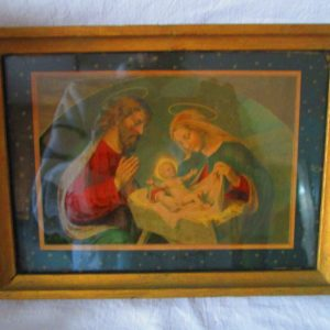 Antique Frame Glass and Religious Artwork Picture Wall Hanging Wooden Back