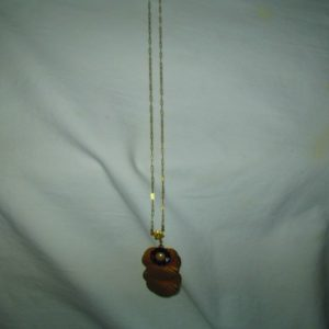 Antique Gold Tone chain with Amethyst color rhinestones and flower shape drop very nice old piece
