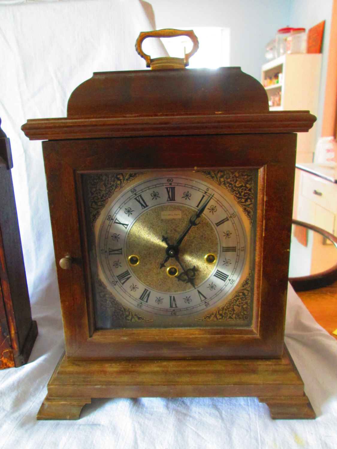 Antique Hamilton Empress Mantle Clock Gold Face Ornate 340 ...