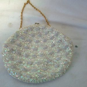 Antique Hand made beaded and sequins bag clean ivory satin inside Clutch or purse Hand made in Hong Kong