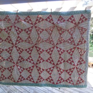 Antique Hand made hand stitched quilt red and white early 1900's all cotton muslin needs repair