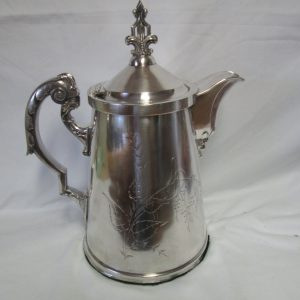 Antique Large Hand Chased Porcelain Lined Quadruple Plate Coffee Server Tea Hot Water Pitcher Server Carafe Silverplate