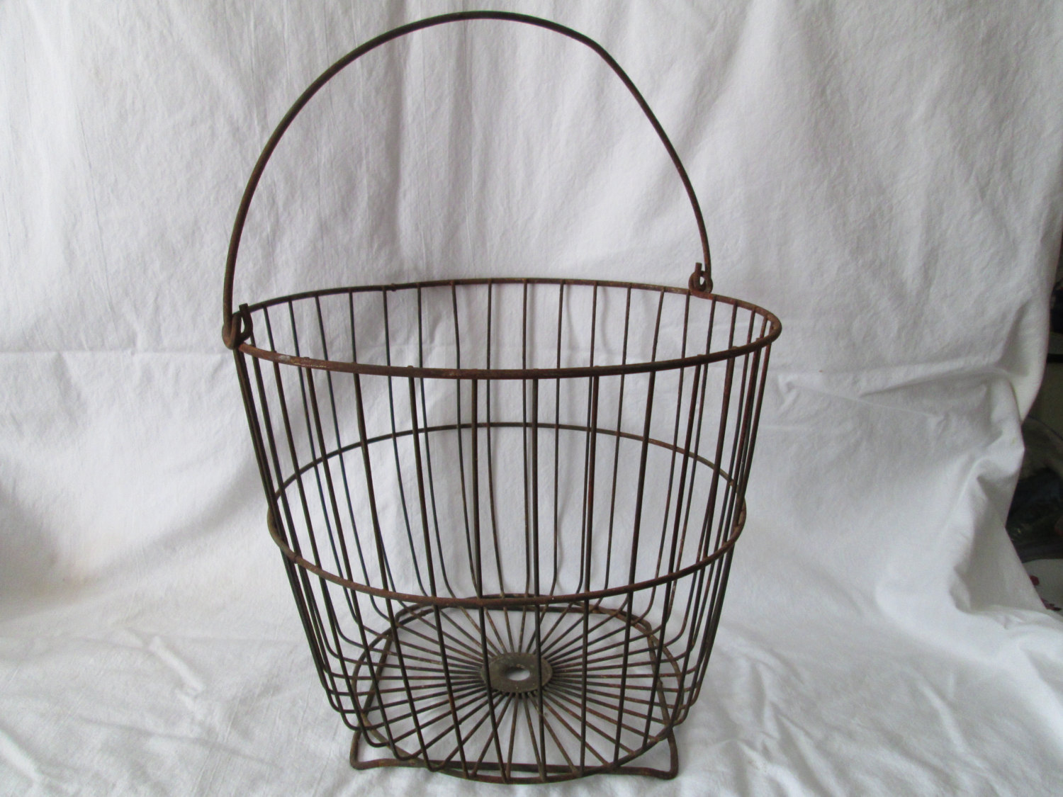 Antique Large Metal Potato Gathering Basket Straight From The Farm Vegies  Fruit Storage