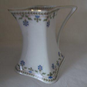 Antique Limoge Creamer Pitcher Blue Floral Trimmed in Gold Delicate pattern Unique shape