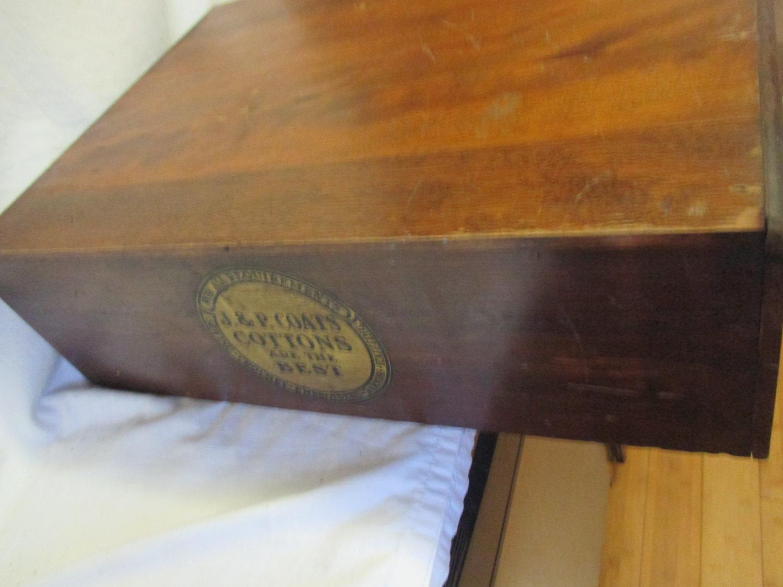 Antique Mercantile Wooden J.P. Coats Countertop spool cabinet 2 drawers  Original labels cotton thread box - Antique Mercantile Wooden J.P. Coats Countertop Spool Cabinet 2