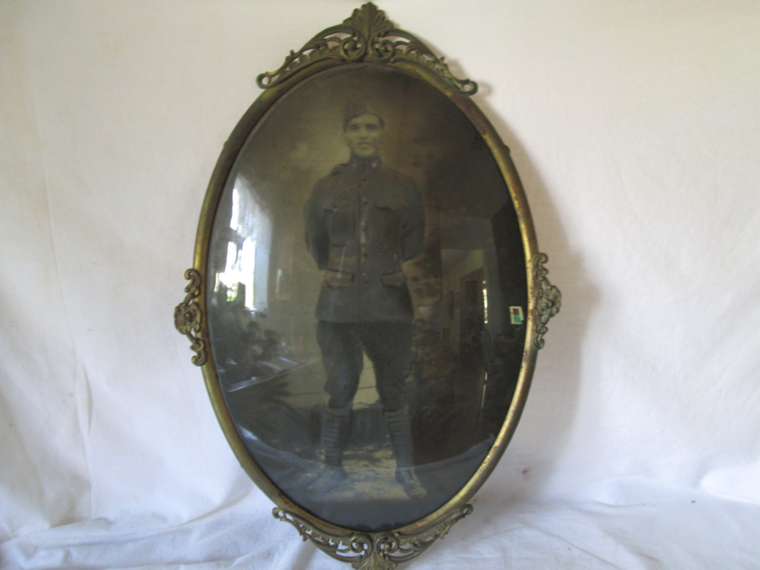 Antique Military Photo In Convex Glass Meta Frame Wwi Militaria