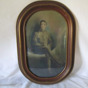 Antique Military Photo in Convex Glass Wooden Frame WWI Militaria World War 1 photograph of soldier militaria