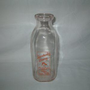 Antique one quart pasteurized milk very light pink glass Sandusky Dairy Milk Bottle
